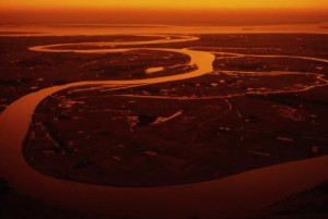 Ganges rinner ut i Bengaliska viken
