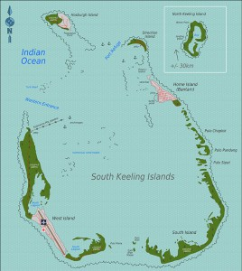 Karta över West Island och Home Island